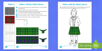 Make a Kilt for Robert Burns Activity Sheets - Robert Burns, paper craft, kilt, tartan, Scottish craft, worksheets, Scottish