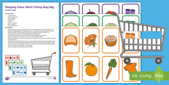 Shopping Colour Match Posting Busy Bag Resource Pack for Parents - shops, supermarket, trolley, maths, number, numeracy