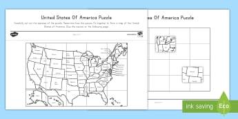 USA Map Puzzle Cut and Paste Activity Sheet - States and Capitals, USA States, US States, United States, US Capitals, USA Capitals, US Capital Cit