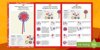 Race Rosettes Craft Instructions - English/Spanish - craft, art, arts, crafts, Chinese new year, chinese