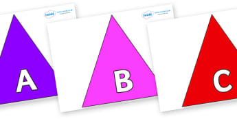 A-Z Alphabet on Triangles - A-Z, A4, display, Alphabet frieze, Display letters, Letter posters, A-Z letters, Alphabet flashcards