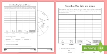 Columbus Day Spin and Graph Activity Sheet - Columbus, Columbus Day, Spin and Graph, Ships, America, worksheet