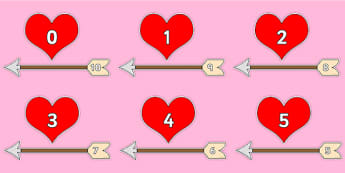 Valentine's Day Number Bonds to 10 (Arrow and Hearts) - Valentine's Day, Valentine, love, Saint Valentine, heart, kiss, number, bonds, matching cards, number bonds to, counting, number recognition, cupid, gift, roses, card, flowers, date, letter, gir