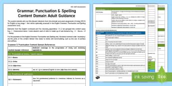 KS1 SATs Assessment: Grammar, Punctuation & Spelling Content Domain Adult Guidance - SATs Survival Materials Year 2, SATs, assessment, 2017, English, SPaG, GPS, grammar, punctuation, sp