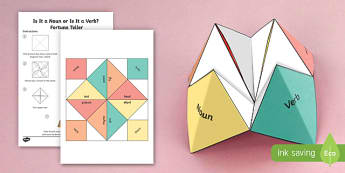 Is It a Noun or Is It a Verb? Fortune Teller Activity - SATs Survival Materials Year 6, SATs, assessment, 2017, English, SPaG, GPS, grammar, punctuation, sp