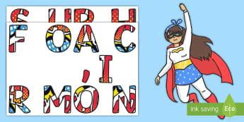 Decoración de la puerta: Superhéroes  - héroes, superman, superwoman, entrenamiento, bienvenida,Spanish
