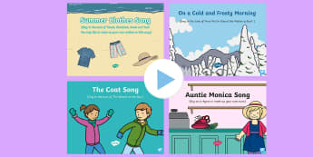 Clothes Songs and Rhymes PowerPoints Pack - clothing, dressed, wearing, singing, song time