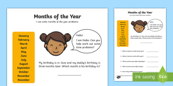 Months of the Year Activity Sheet - Months, time, duration, order, before, after, year, problem solving,Australia, worksheet