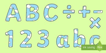Cloud Themed Display Letters and Numbers Pack - Proud Cloud, Display Lettering, number, symbols, punctuation, letters