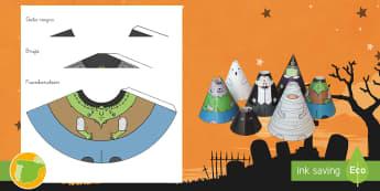Modelo de papel: Conos con personajes de Halloween - halloween, noche de brujas, personajes, artesanía, artensanías, representación, teatro, teatro de
