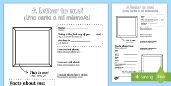 A Letter To Myself Activity Sheet English/Spanish - A Letter To Myself Writing Activity - letters, ourselves, write, oursleves, leters, lettes, ourselvs