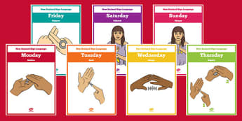 New Zealand Sign Language Days of the Week Display Posters Te Reo Maori - nz, new zealand, sign language, new zealand sign language week, display posters, days of the week, te reo maori