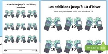 Feuilles d'activité : Les additions jusqu'à dix - saison, compter, calcul, mathématiques, cycle 1, cycle 2,French