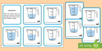 Ordering Amounts in ml Activity - Measuring in cm Activity Sheets - Measuring, CM, centimetres, ruler, rule, shapes spaces and measure
