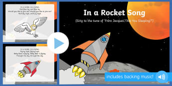 In a Rocket Song PowerPoint to Support Teaching on Whatever Next!  - EYFS, Early Years, Whatever Next, Jill Murphy, space, rocket, moon, stars, Baby Bear.