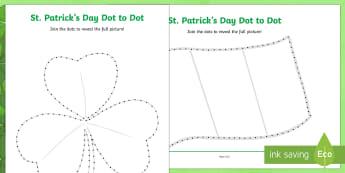 St Patrick's Day Dot to Dot Activity Sheet - KS1& 2 St Patrick's Day UK March 17th 2017, dot to dot, fine motor skills, counting