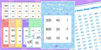 Place Value Bingo - value, ten, units, maths, games, numeracy, Place value, bingo, number, base 10, partitioning