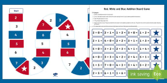 Red, White and Blue Addition Board Game - Flag Day, Memorial Day, Independence Day, 4th of July, Veterans Day, Addition Problems, Math, Math C