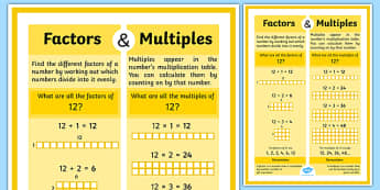 Factors and Multiples Display Poster - Factors and Multiples Display Poster 4xA4 - factors, multiples, display, mutliples, multples