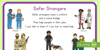 Safer Strangers Display Poster - stranger, safety, display, poster, people who help, job, career, emergency, lost, help