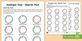 Analogue Time - Quarter Past Activity Sheet - NI KS1 Numeracy, time, analogue, clock, quarter past, home learning, worksheet