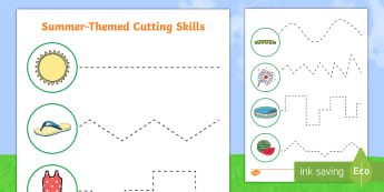 Summer Cutting Skills Activity Sheet - summer, cutting skills, cutting, cut, skills, activity sheet, activity
