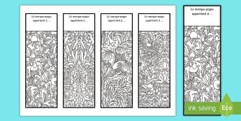 Marque-pages : Motifs de coloriages anti-stress - Arts, plastiques, colorier, lire, cycle 2, cycle 3
