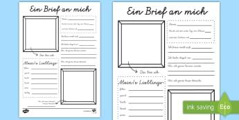 Ein Brief an mich Arbeitsblatt - schreiben, Brief, Breif schreiben, Schuljahresbeginn, Schuljahresende, Schuljahresanfang, erster Sch