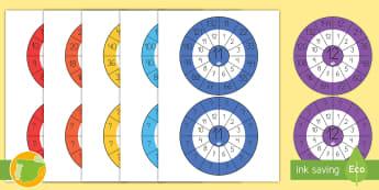 Imágenes de exposición; Ruedas de las tablas de multiplicar - tabla de multiplicar, múltiplos, mates, matemáticas, multiplicar, multiplicación, tablas, por uno