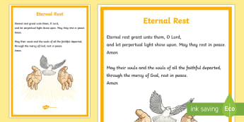 Eternal Rest A4 Display Poster - CfE Catholic Christianity, prayers, mass responses, Eternal Rest,Scottish