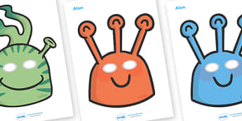 Story Role Play Masks to Support Teaching on Aliens Love Underpants - aliens, woolly, long johns, space ship, underpants, Claire Freedman, role play, masks, play