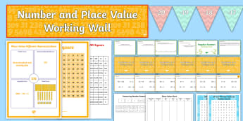 LKS2 Number and Place Value Working Wall Display Pack - Practise, Problem Solve, Negative Numbers, Number Recognition, Rounding, Multiples, Times Tables, Ma