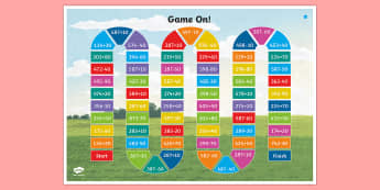 Three-Digit Numbers and Tens (without crossing the hundreds Boundary) Board Game - Addition and Subtraction, Add, more, plus, and, altogether, total, equal to, equals, count on, subtr