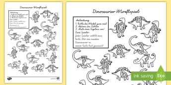 Dinosaurier Würfelspiel: Addieren und Anmalen - Dinosaurier Würfelspiel Addieren und Anmalen, Dinosaurer, Dino, Würfelspiel, Würfel, Addieren und
