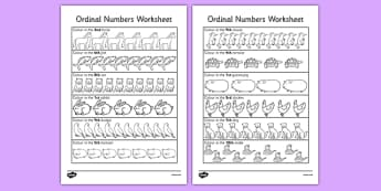 Ordinal Numbers Activity Sheet - ordinal, numbers, worksheet, number