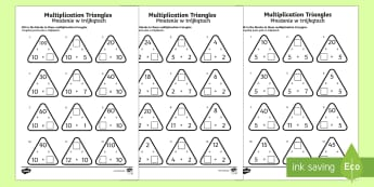 Multiplication Triangles Activity Sheet 2 to 12 Times Tables English/Polish - Multiplication Triangles Activity Sheet 2 to 12 Times Tables - multiplication triangles, times table