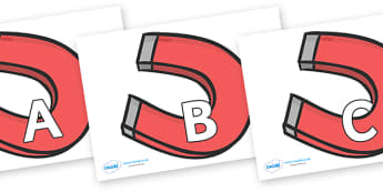 A-Z Alphabet on Magnet - A-Z, A4, display, Alphabet frieze, Display letters, Letter posters, A-Z letters, Alphabet flashcards