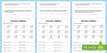 Decimals Addition Activity Sheet - decimals, decimals addition, addition with decimals, addition worksheets, ks2 addition, ks2 worksheets, ks2 numeracy