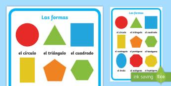 Large 2D Shapes Display Poster - Spanish, KS2, vocabulary, shapes, maths, 2D, large, display, poster, classroom, organisation, decora
