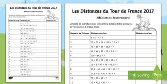 Les Distances du Tour de France Feuille d'activités  - mathématiques, calculs, étapes, longueur, distance, mesure, opérations, additions, soustractions,