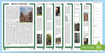 Queen's University, Belfast Differentiated Reading Comprehension Activity  - NI - Queen's University, Belfast campus, Stranmillis, St Mary's, college graduate