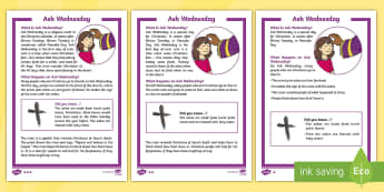 KS1 Ash Wednesday Differentiated Fact File - KS1, year 1, year 2, yr 1, yr 2, year one, year two, reading, reading comprehension, guided reading,