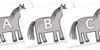 A-Z Alphabet on Horse to Support Teaching on What the Ladybird Heard - A-Z, A4, display, Alphabet frieze, Display letters, Letter posters, A-Z letters, Alphabet flashcards