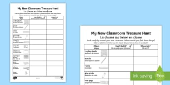 My New Classroom Treasure Hunt Activity Sheet - French - My New Classroom Treasure Hunt - new classroom, treasure hunt, EAL French,French-translation