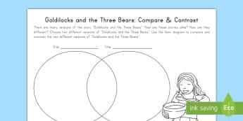 Goldilocks and the Three Bears: Compare and Contrast Activity Sheet - Goldilocks, Fairy Tales, Common Core, Venn Diagram, Compare, Contrast, worksheet