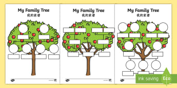 My Family Tree Activity Sheets English/Mandarin Chinese - parent, mum, dad, grandparent, grandma, grandad, family, granpa, Family's, tempelte, templet, ourse