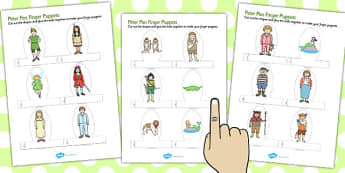 Peter Pan Finger Puppets - finger puppets, peter pan, puppets