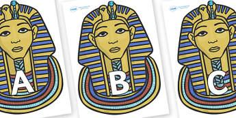 A-Z Alphabet on Mummy Masks - A-Z, A4, display, Alphabet frieze, Display letters, Letter posters, A-Z letters, Alphabet flashcards