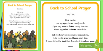 Back to School Prayer A4 Display Poster - prayers, religion, start of year, back to, school,Irish