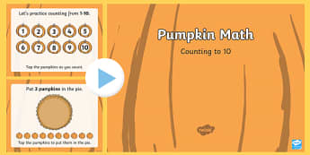 Pumpkin Math Counting to 10 Interactive PowerPoint